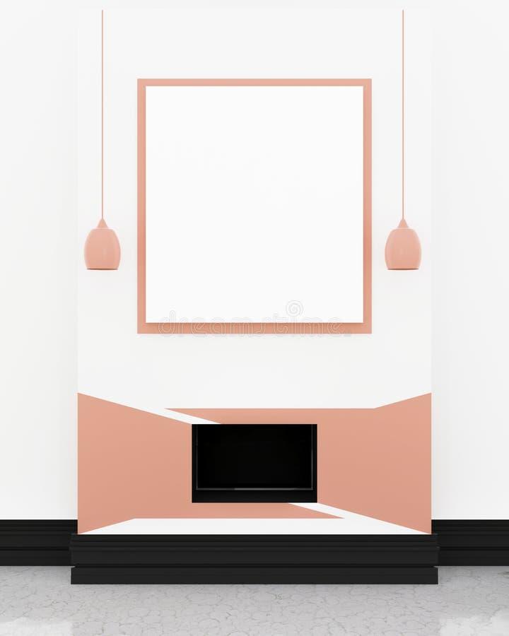 Nowożytny TV pokoju wnętrze, czarny TV w pomarańczowym panelu na ścianie ilustracja wektor