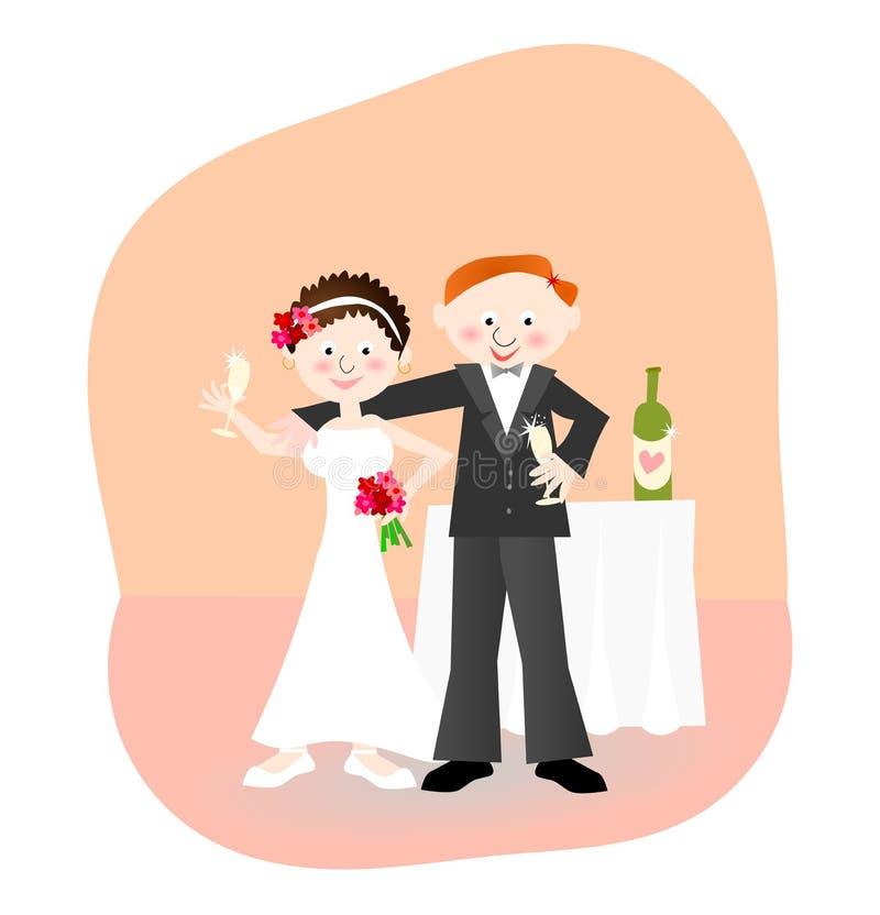 Nowożeńcy: państwo młodzi z szampanem ilustracji
