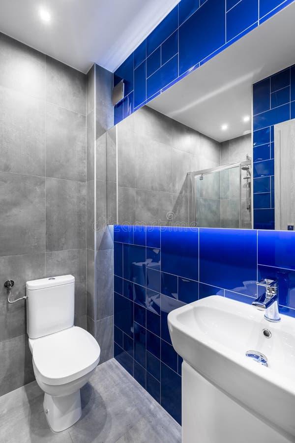 Nowożytna łazienka w popielatym i błękitnym zdjęcie royalty free