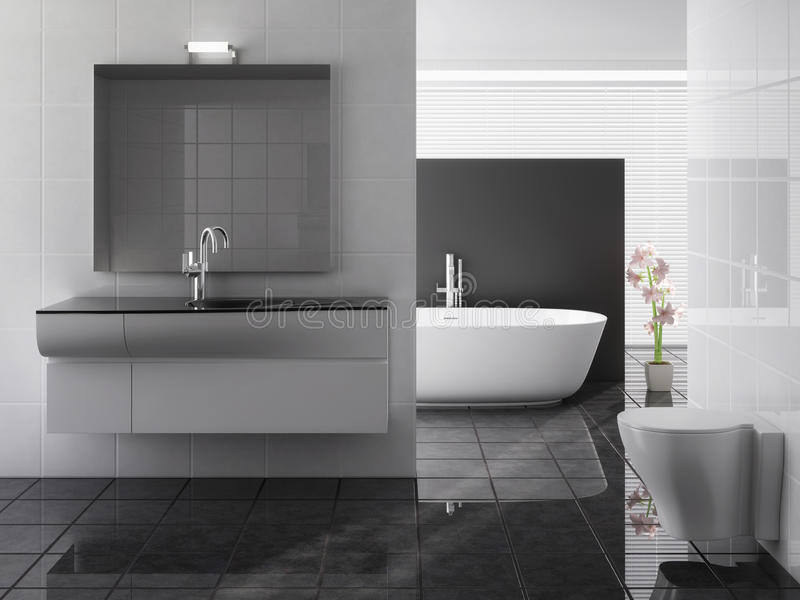 Nowożytna łazienka wliczając skąpania i zlew obraz stock