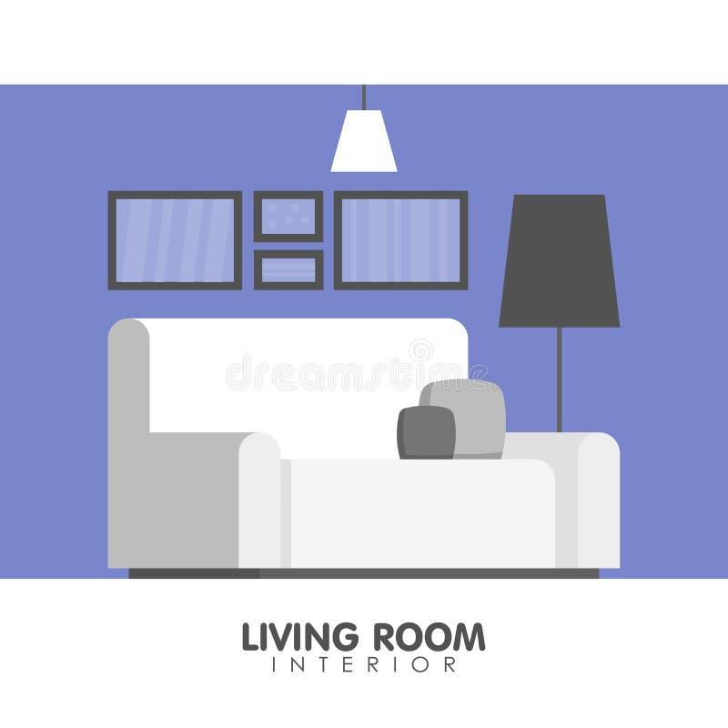Nowożytna żywa izbowa wewnętrznego projekta ikona również zwrócić corel ilustracji wektora royalty ilustracja