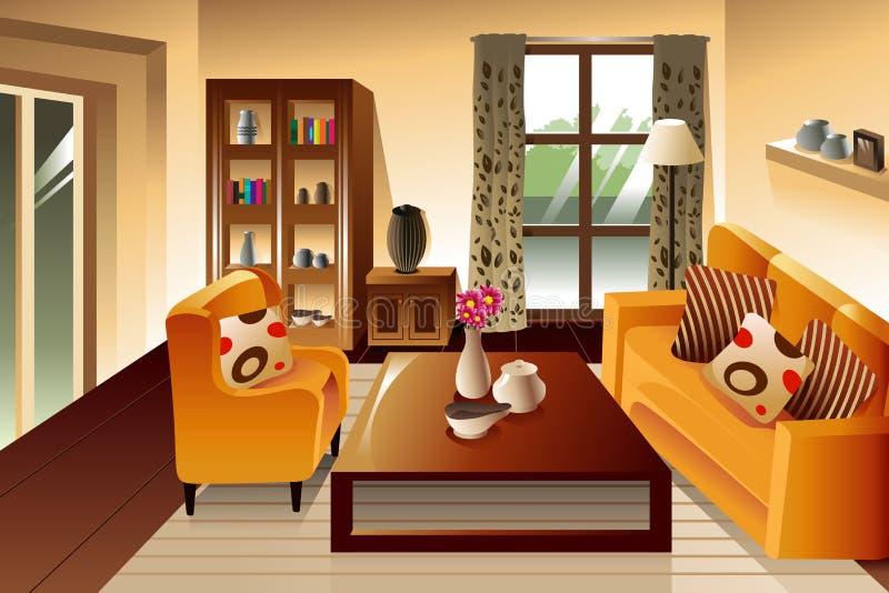 Nowożytna żywa pokój przestrzeń royalty ilustracja