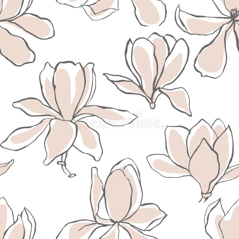 Nowożytna abstrakcjonistyczna magnolia kwitnie tło bezszwowy kwiecisty wzoru Pastelowa scandinavian kolor paleta Tekstylny skład, royalty ilustracja