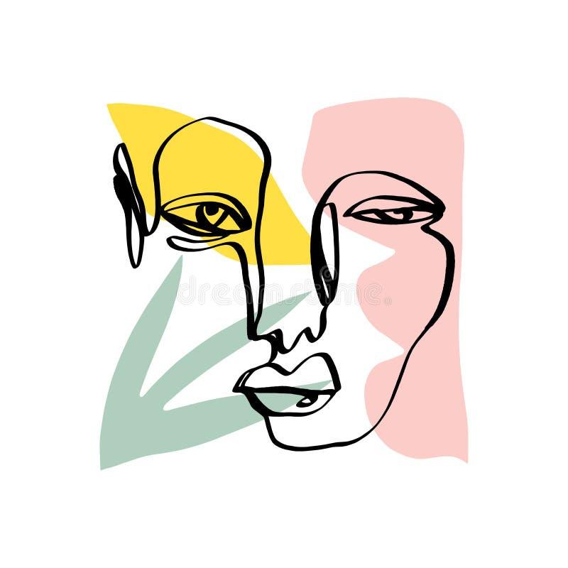 Nowożytna abstrakcjonistyczna modna kontur twarz Współczesna portret sylwetka Ręka rysująca ciągła linia, minimalistic pojęcie Dr royalty ilustracja
