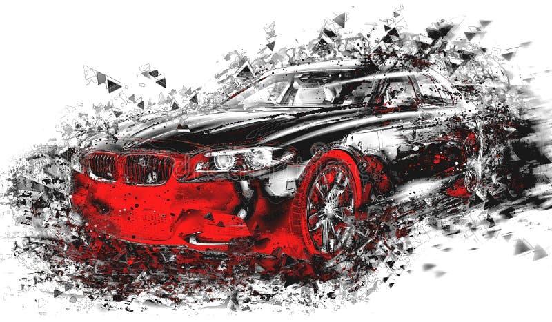 Nowożytna abstrakcjonistyczna samochodowa sztuka ilustracja wektor