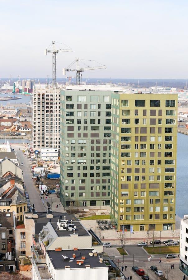 Nowożytna architektura w ćwiartki Het Eilandje w Antwerp zdjęcia royalty free