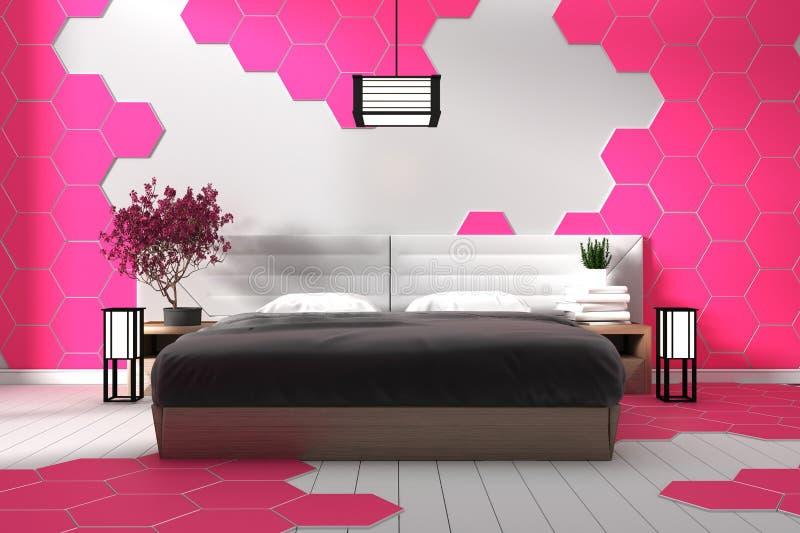 Nowożytna biała sypialnia projekta menchii sześciokąta płytka - Zen styl ?wiadczenia 3 d ilustracji
