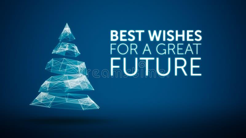 Nowożytna choinka i życzenie sezonu powitań wielka przyszłościowa wiadomość na błękitnym tle Elegancki sezonu wakacyjnego socjaln royalty ilustracja