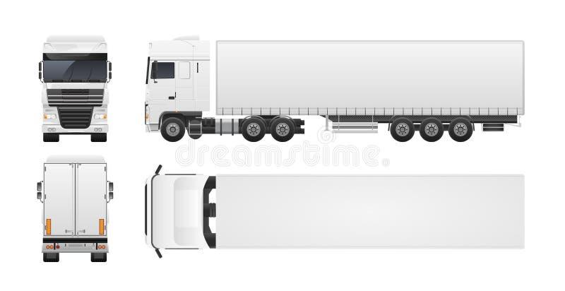 Nowożytna ciężarówka lub ciężarówka odizolowywający na białym tle Przodu, plecy, odgórnych i bocznych widoki, Handlowy drogowy po royalty ilustracja