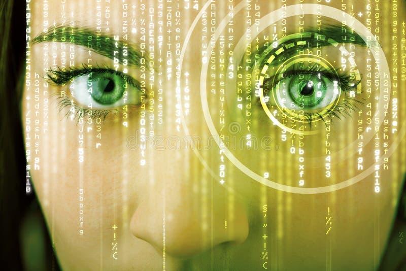 Nowożytna cyber kobieta z matrycowym okiem fotografia royalty free