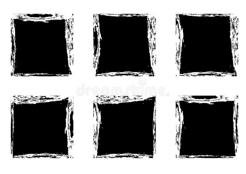 Nowożytna czarnego kwadrata plama obramia inkasowych szablony ilustracja wektor
