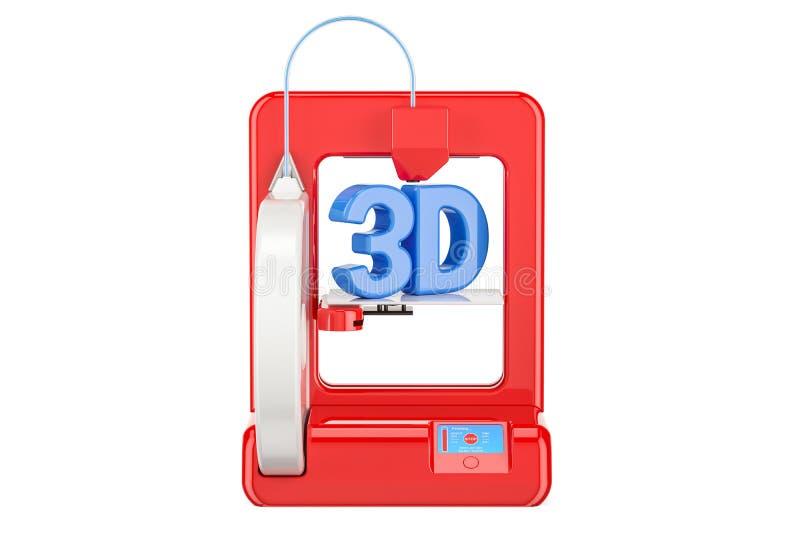 Nowożytna czerwieni 3D drukarka, 3D rendering royalty ilustracja