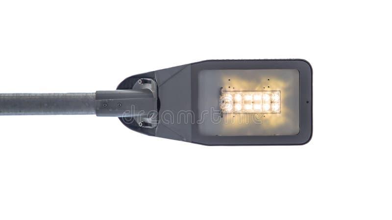 Nowożytna DOWODZONA latarnia uliczna na białym tle fotografia stock