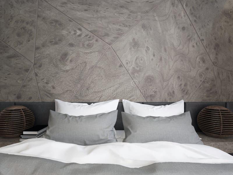 Nowożytna dwoista sypialnia z drewnianym panelem i lampą zdjęcia royalty free