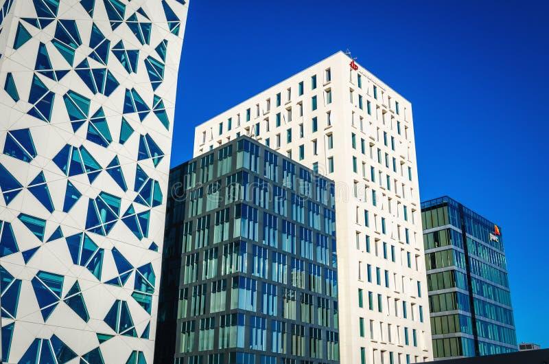 Nowożytna dzielnica biznesu w Oslo, Norwegia fotografia stock