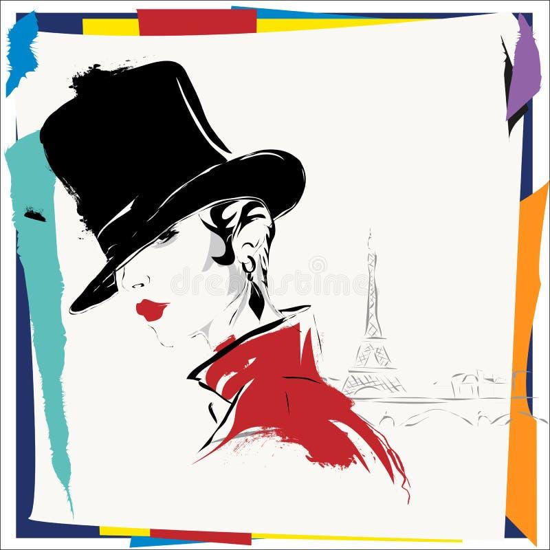 Nowożytna dziewczyna w Paryż, nakreślenie ilustracja wektor