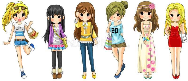 Nowożytna dziewczyny mody kreskówki kolekcja ustawia 1 (wektor) ilustracji