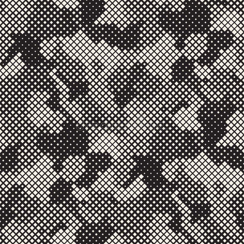 Nowożytna Elegancka Halftone tekstura Niekończący się Abstrakcjonistyczny tło Z Przypadkowymi Wielkościowymi kwadratami Wektorowy obrazy royalty free