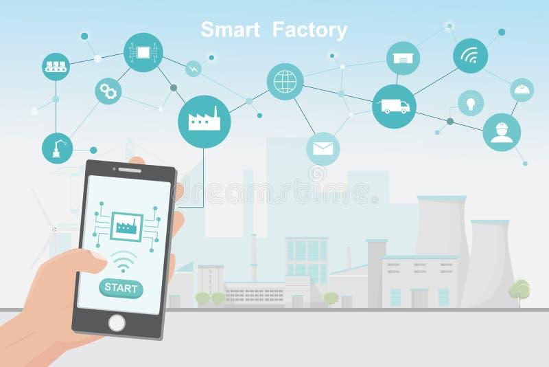 Nowożytna fabryka 4 (0), mądrze automatyzująca produkcja od smartphone ilustracja wektor