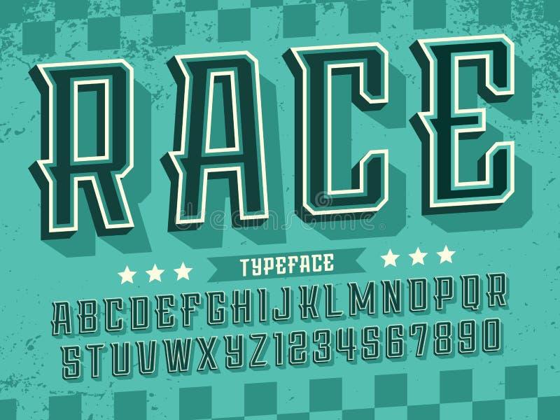 Nowożytna fachowa wektoru 3d abecadła rasa Obyczajowy typeface ilustracji