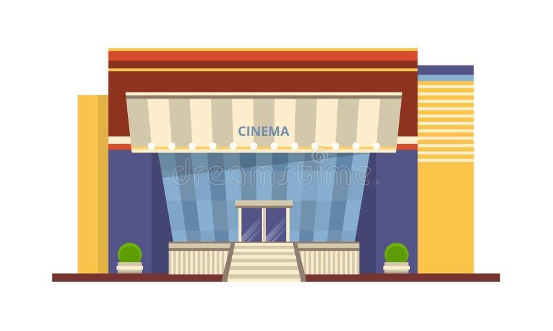 Nowożytna fasada kinowy budynek, architektoniczna struktura dla odtwarzania, rozrywka royalty ilustracja