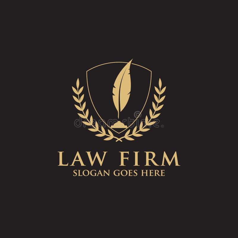 Nowożytna firma prawnicza logo inspiracja z piórkowym pióra - czystym i mądrym logo wektorem ilustracji