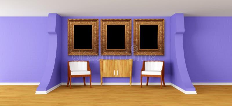 Nowożytna galeria z luksusowymi karłami i biurem ilustracja wektor