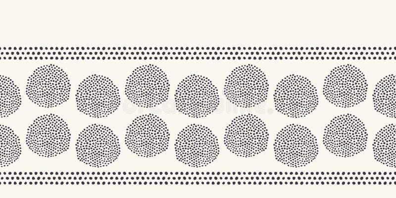 Nowożytna geometryczna ręka rysująca nasieniodajna okrąg granica Wielostrzałowy abstrakcjonistyczny nierówny polki kropki tło Org ilustracji