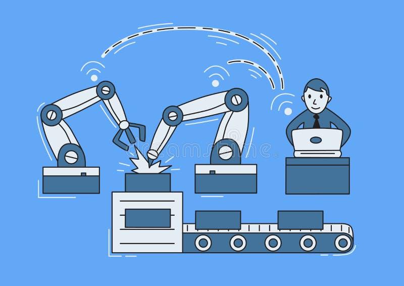 Nowożytna gromadzić linia z remot operatorem Mężczyzna dyrygentury bezprzewodowy maszynowy narzędzie 4 przemysł (0) Wektorowych i ilustracji