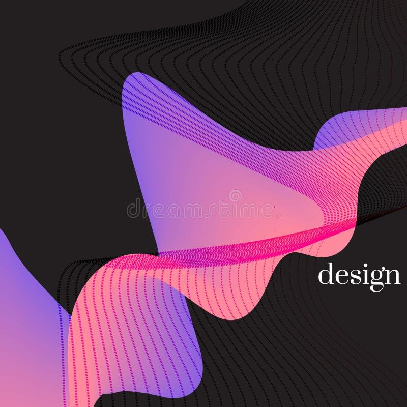 Nowożytna holograficzna abstrakt pokrywa Neonowi nowi pomarańczowi kreskowi kształty z kolorowym skręcaniem Dynamiczna spływowa w ilustracja wektor