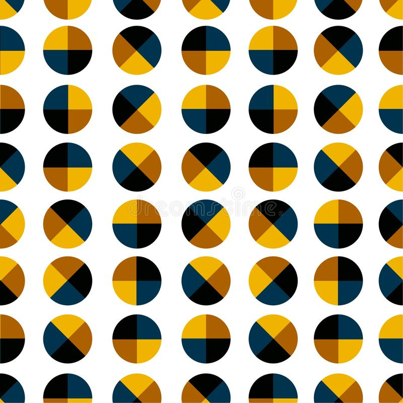 Nowożytna i modna geometryczna polki kropka 4 ćwiartuje bezszwowego wzór ilustracji