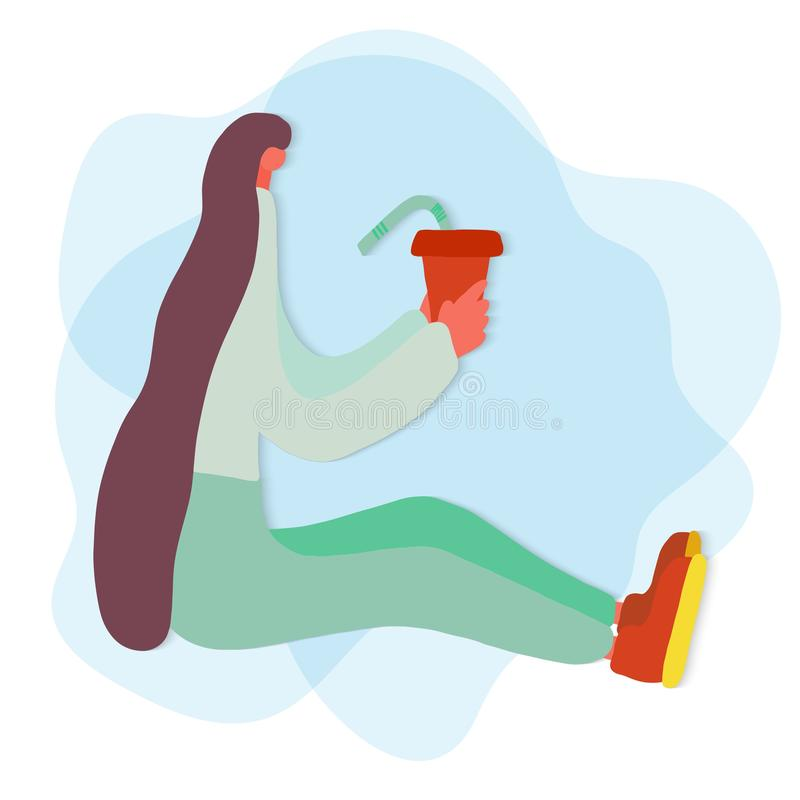Nowożytna ilustracja dla mody styl życia projekta retro ilustracyjny wektora Nowożytna modna młoda modniś dziewczyna z długie wło ilustracja wektor