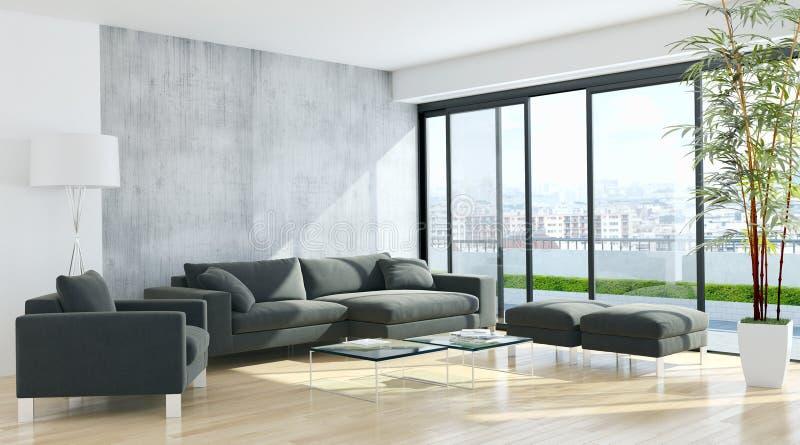Nowożytna jaskrawa wnętrza mieszkania 3D renderingu ilustracja obraz stock