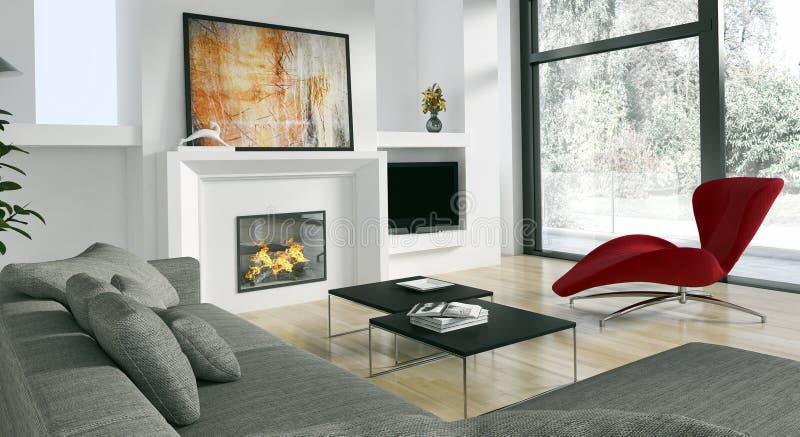 Nowożytna jaskrawa wnętrza mieszkania 3D renderingu ilustracja royalty ilustracja