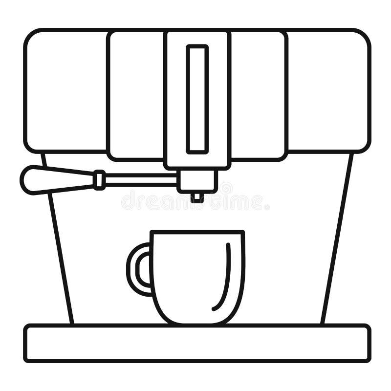 Nowożytna kawowa maszynowa ikona, konturu styl royalty ilustracja