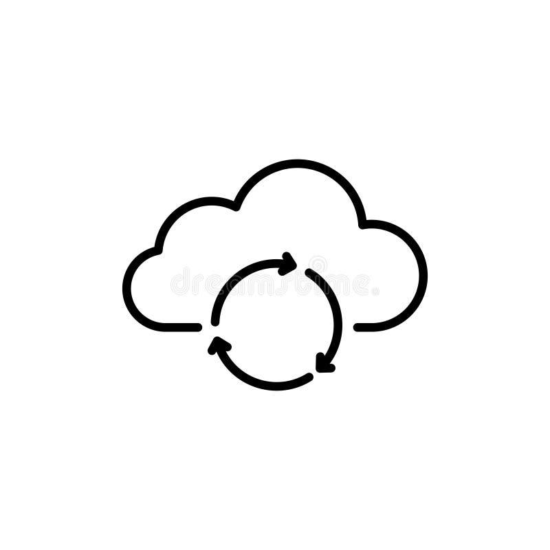 Nowożytna komputer chmury linii ikona ilustracji