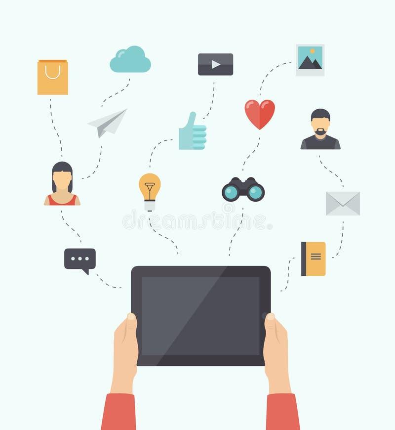 Nowożytna komunikaci mobilnej technologii mieszkania ilustracja ilustracja wektor