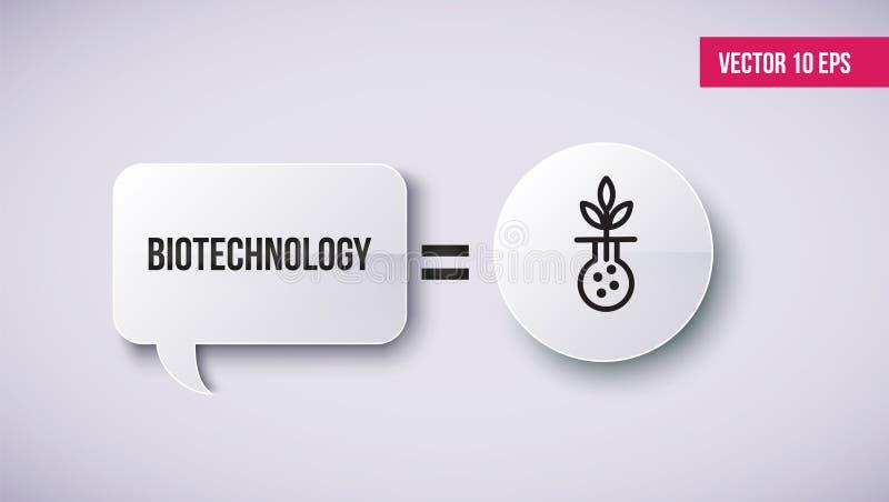 Nowożytna kreskowa ikona biotechnologii badanie, biologii laboratorium eksperyment royalty ilustracja