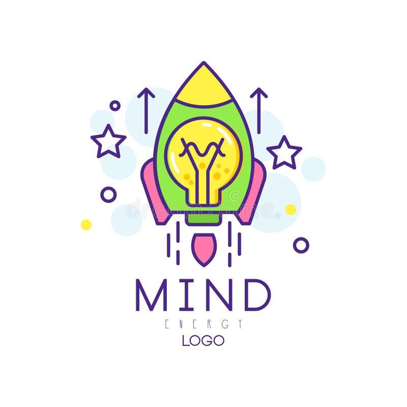 Nowożytna kreskowa sztuka z rakietą, żarówką i gwiazdami, Umysł energii ikona Innowaci rozpoczęcia i projekta biznes kolorowy ilustracja wektor