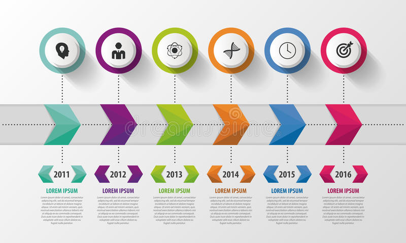 Nowożytna linia czasu Infographic szablon projektu abstrakcyjne również zwrócić corel ilustracji wektora royalty ilustracja