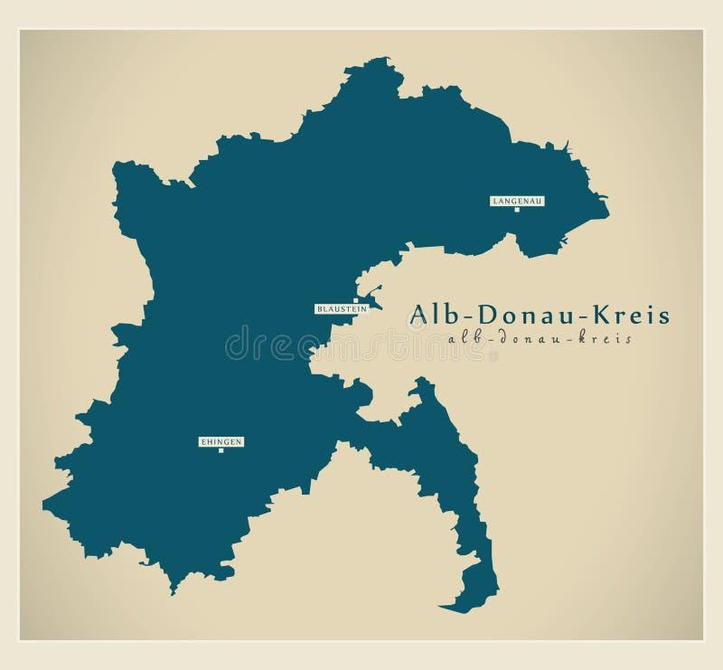 Nowożytna mapa - alby Baden Wuerttemberg DE okręg administracyjny royalty ilustracja