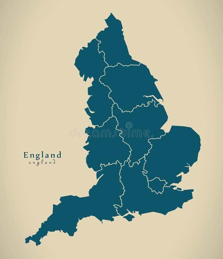 Nowożytna mapa - Anglia z okręgami administracyjnymi UK obraz stock