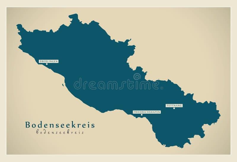 Nowożytna mapa - Bodenseekreis Baden Wuerttemberg DE okręg administracyjny royalty ilustracja