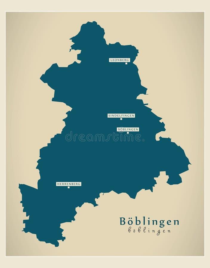 Nowożytna mapa - Boeblingen Baden Wuerttemberg DE okręg administracyjny ilustracji