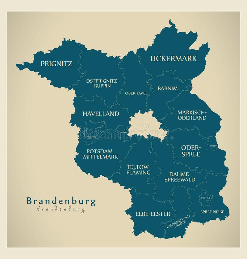Nowożytna mapa - Brandenburg Niemcy z okręgami administracyjnymi i etykietkami mapa ilustracji