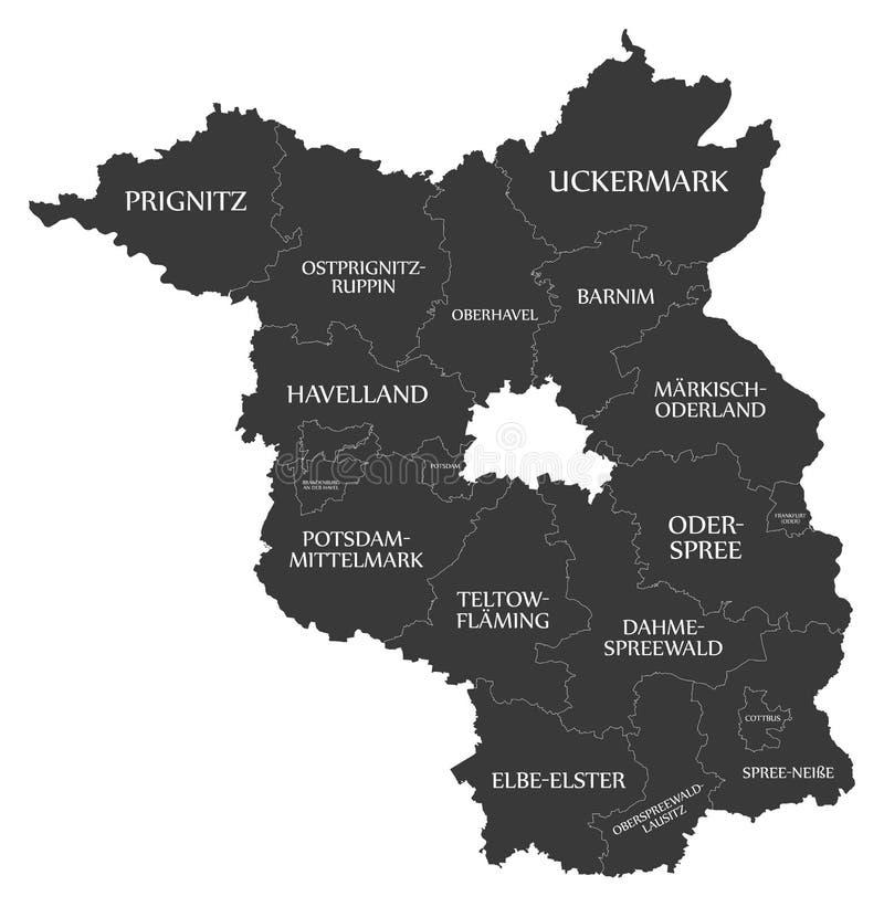 Nowożytna mapa - Brandenburg mapa Niemcy z okręgami administracyjnymi i etykietki czernimy ilustracja wektor