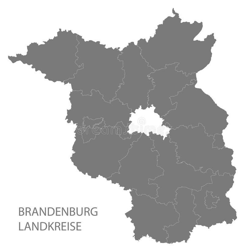 Nowożytna mapa - Brandenburg Niemcy z okręgami administracyjnymi szarymi mapa royalty ilustracja