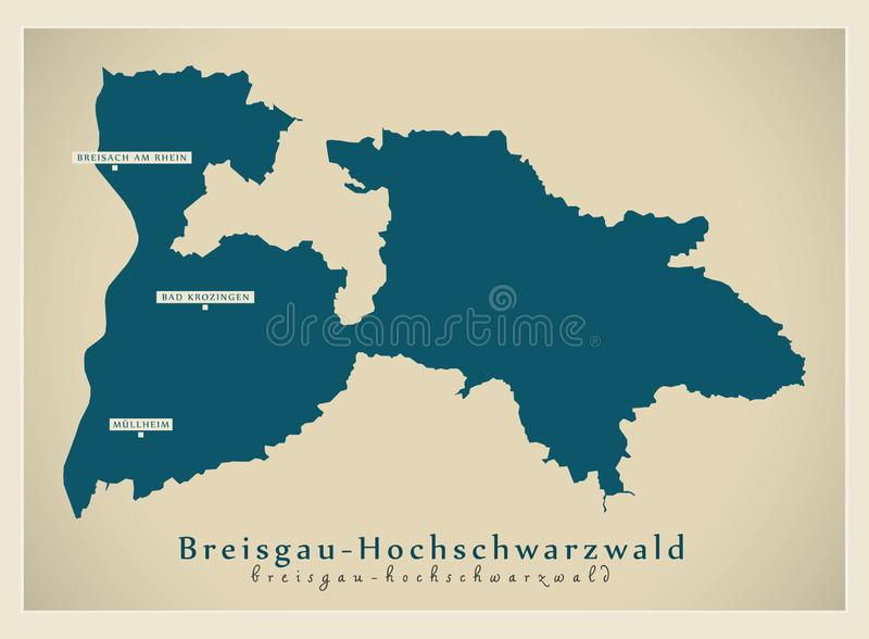 Nowożytna mapa - Breisgau-Hochschwarzwald Baden Wuerttemberg DE okręg administracyjny ilustracja wektor