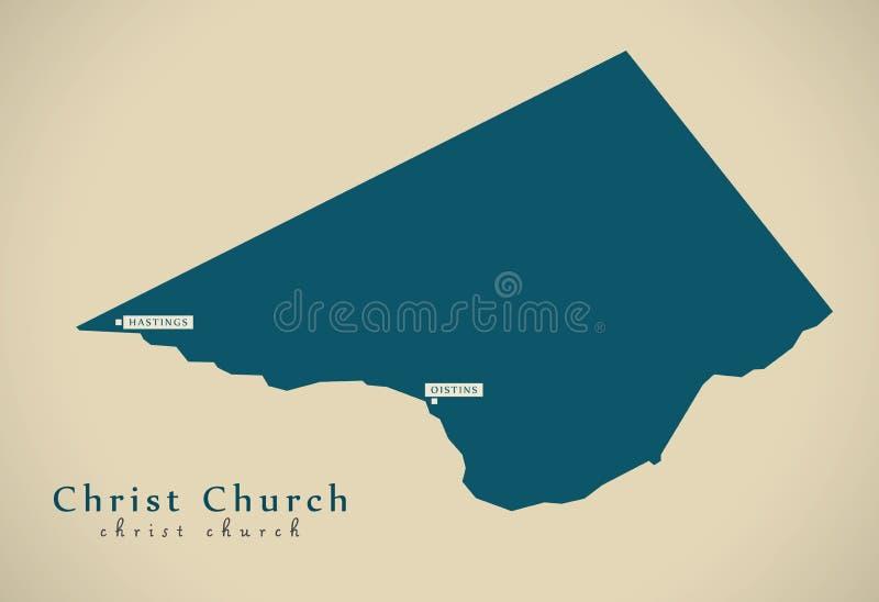 Nowożytna mapa - Chrystus kościół BB royalty ilustracja