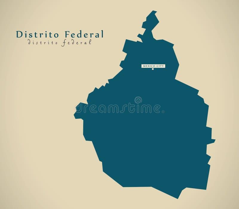 Nowożytna mapa - Distrito Meksyk Federacyjny MX ilustracja wektor